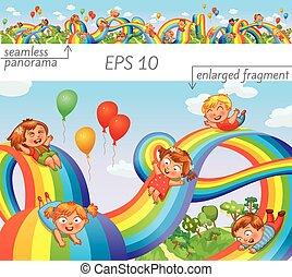 Children slide down on a rainbow