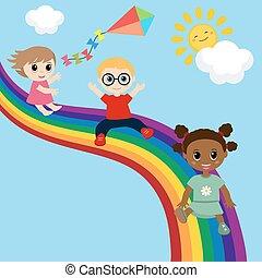 Children slide down on a rainbow.