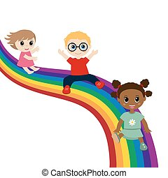 Children slide down on a rainbow.