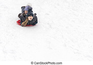 children slide on ice-boats - two sisters slide down a hill...