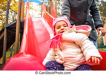 children slide park outdoor playground winter recreation