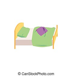 Children small bed with green blanket and pillow vector illustration isolated.
