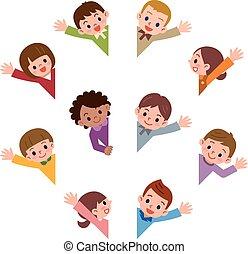 Children smile waving - Vector illustration.