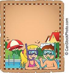 Children snorkel divers parchment 1 - eps10 vector...