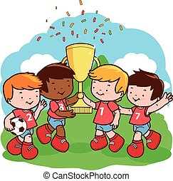 Children soccer team players cheering with a championship...