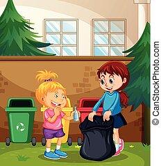 Children Sorting the Waste illustration