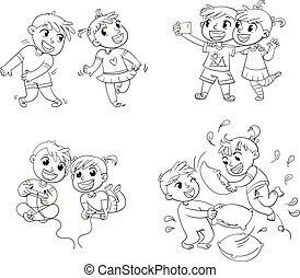 Children spend leisure time fun. Coloring book