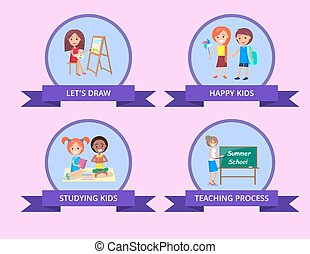 Children Spending Time by Studying Vector Poster