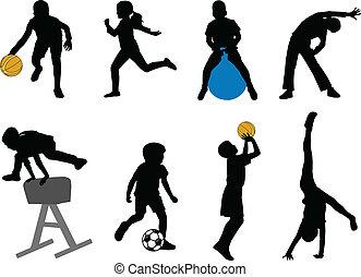 children sport silhouettes - vector