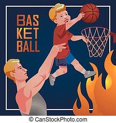 Children sport with parents - basketball.