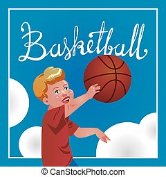Children sport with parents, basketball. Vector calligraphy