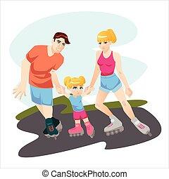 Children sport with parents rollerskating vector illustration