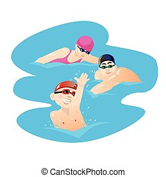 Children sport with parents swimming at the pool vector illustration