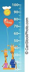 children., stadiometer, amour, girafes