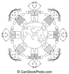 Children standing around Earth, contour - Happy children...