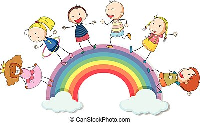 Children standing on the rainbow