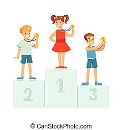 Children standing on the winner podium with medals,happy athletes kids on pedestal cartoon vector Illustration