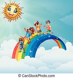 Children standing over the rainbow with smiling sun character