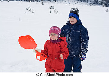 Children staying in the snow