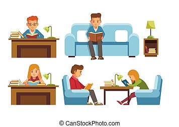 Children students in library or bookshop reading books . ...