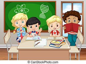 Children studying in the classroom