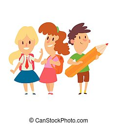 Children studying school kids going study together childhood happy primary education character vector.