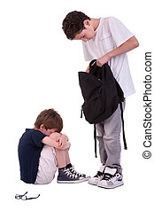 children suffering from bullying by a teen, isolated on white, studio shot