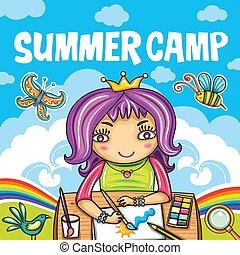 Colorful kids summer camp diploma certificate template in children summer camp series yelopaper Image collections