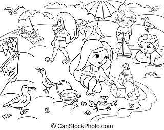 Children swimming at the beach and play with toys coloring...