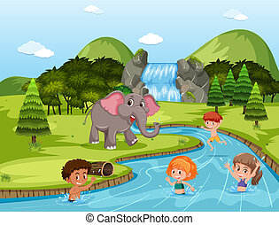 Children swimming at the river