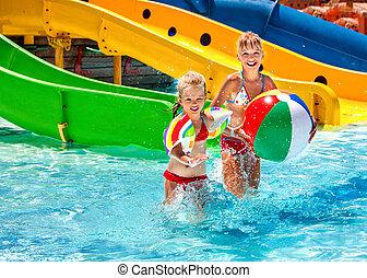 Children swimming in pool.
