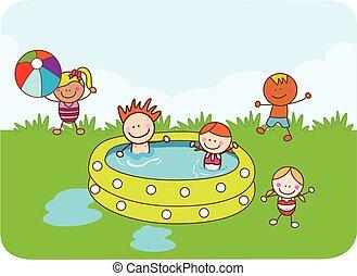 children swimming with happy