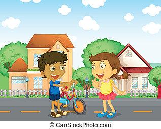 Children talking outside - Illustration of the children...