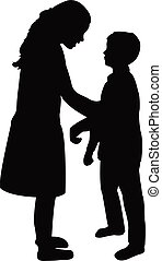 children talking , silhouette vector