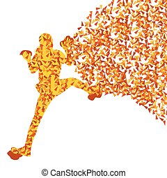 Children, teenager girl rock climber sport athletes climbing wall abstract silhouettes background illustration vector