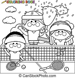 Children tennis players