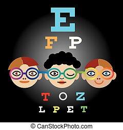 Children testing eyesight, colorblindness.
