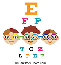 Children testing eyesight - Three children testing eyesight ...