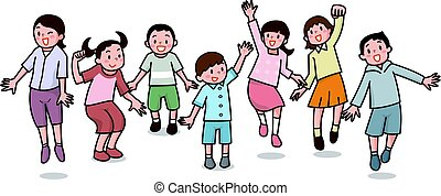 Children to jump - Vector illustration. Original paintings...