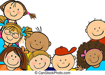 Children from all over the world together--single level-without the effects of transparency-EPS 8