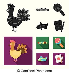 Children toy black, flat icons in set collection for design....