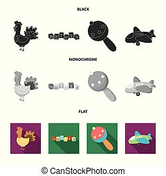 Children toy black, flat, monochrome icons in set collection...