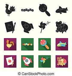Children toy black,flet icons in set collection for design....