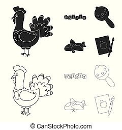 Children toy black,outline icons in set collection for...