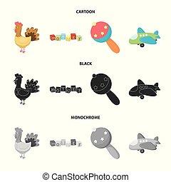 Children toy cartoon,black,monochrome icons in set...