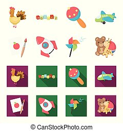 Children toy cartoon,flat icons in set collection for...