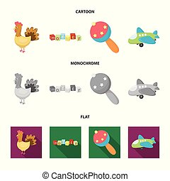 Children toy cartoon,flat,monochrome icons in set collection...