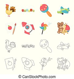 Children toy cartoon,outline icons in set collection for...