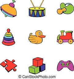Children toy icons set, cartoon style