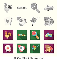 Children toy monochrome,flat icons in set collection for...